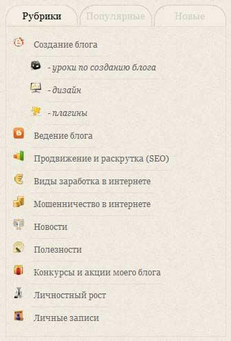Категории на блоге asbseo.ru