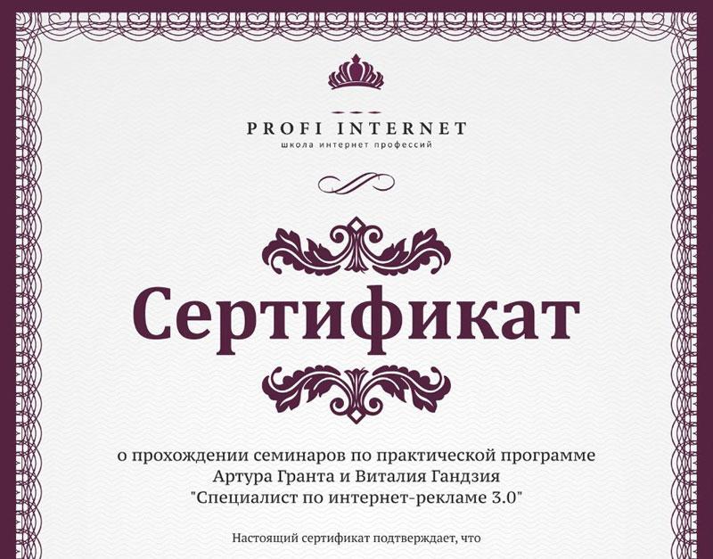 Обучение Яндекс.Директ. Сертификат